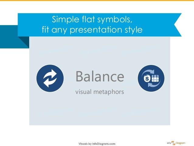 Simple flat symbols, fit any presentation style Balance visual metaphors