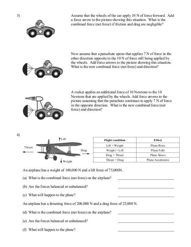 Balanced And-unbalanced-forces-worksheet