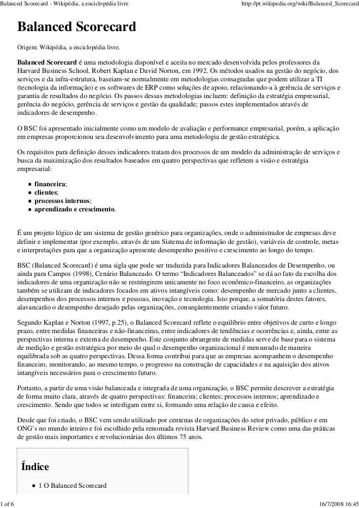 Balanced Scorecard - Wikipédia, a enciclopédia livre                                      http://pt.wikipedia.org/wiki/Bal...