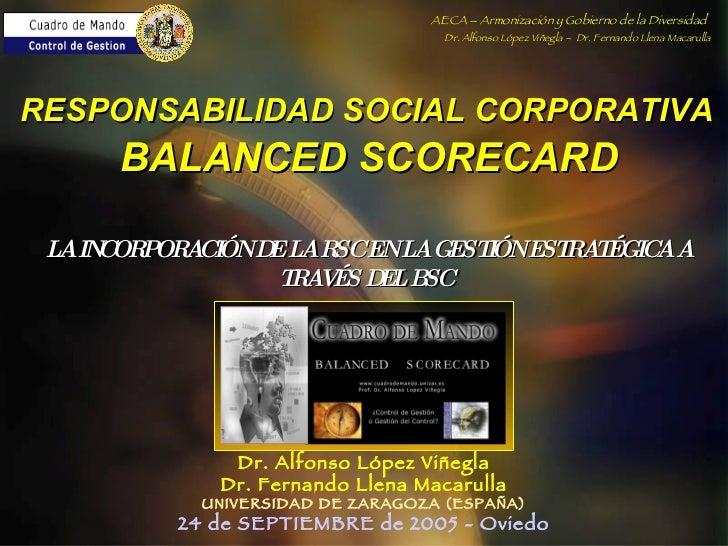 LA INCORPORACIÓN DE LA RSC EN LA GESTIÓN ESTRATÉGICA A TRAVÉS DEL BSC   Dr. Alfonso López Viñegla Dr. Fernando Llena Macar...