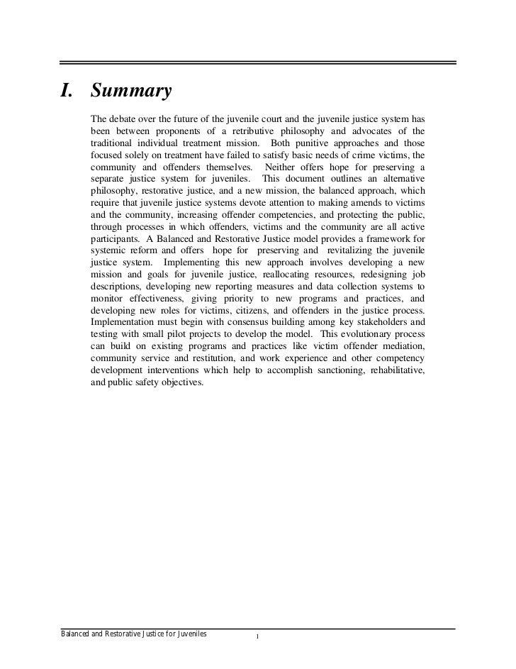 balanced and restorative justice essay Rehabilitating community service: toward restorative service sanctions in a balanced justice this essay argues that community service sanctions must be.