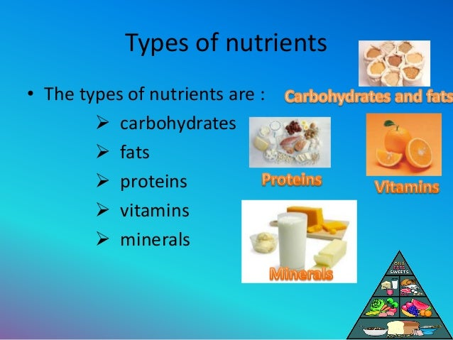 types of nutrients Minerals - those inorganic elements occurring in the body and which are critical to its normal functions vitamins - water and fat soluble vitamins play important roles in many chemical processes in the body there are also very important non nutrients: fibre - the fibrous indigestible portion of our.