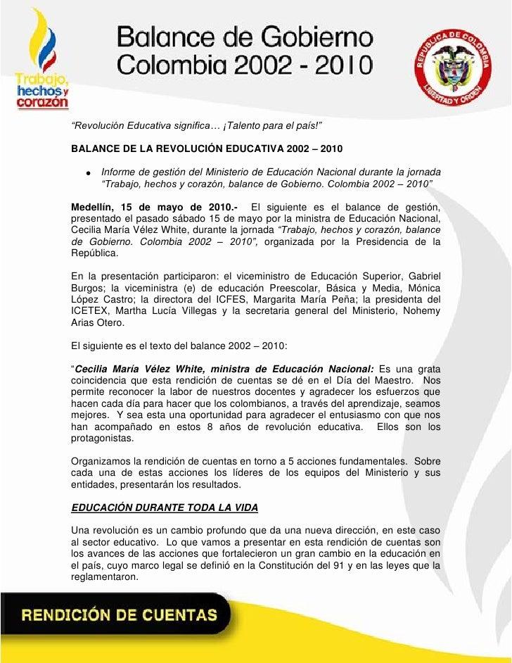 """""""Revolución Educativa significa… ¡Talento para el país!""""BALANCE DE LA REVOLUCIÓN EDUCATIVA 2002 – 2010      Informe de ges..."""