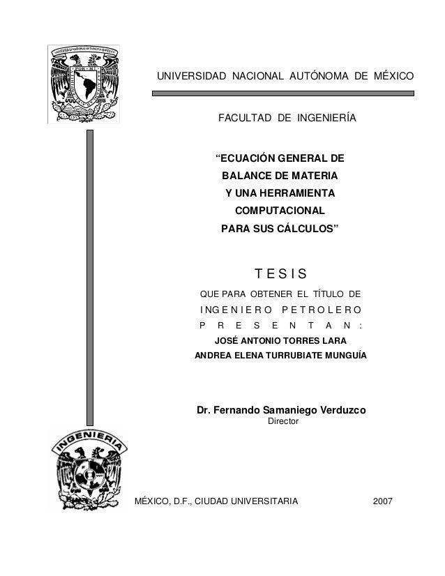 UNIVERSIDAD NACIONAL AUTÓNOMA DE MÉXICO FACULTAD DE INGENIERÍA Dr. Fernando Samaniego Verduzco Director MÉXICO, D.F., CIUD...