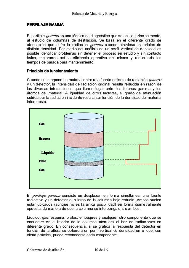 Balance de materia columna de destilacion