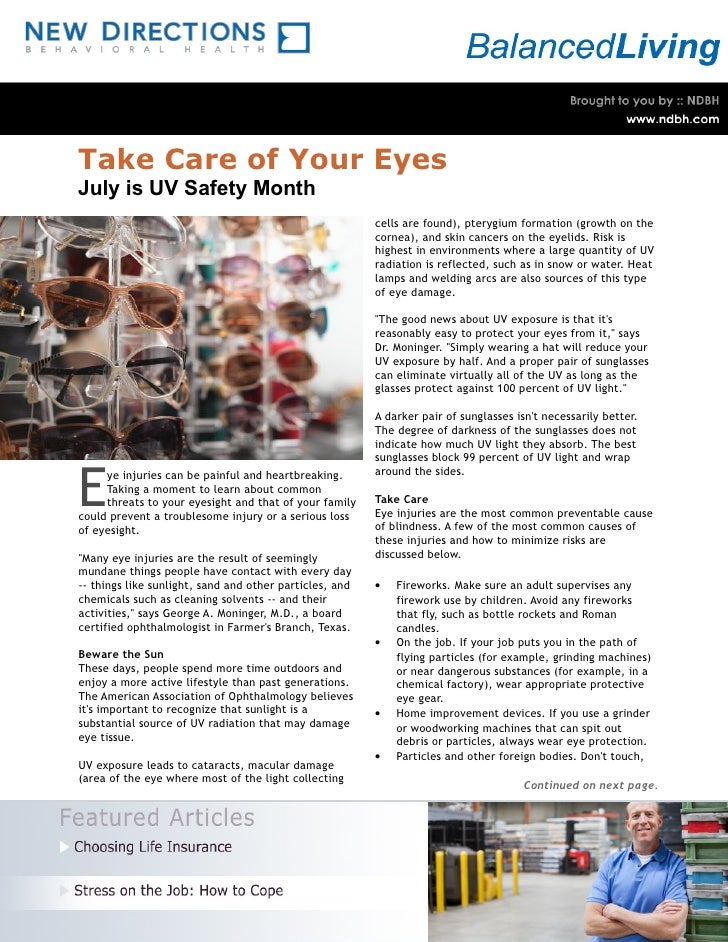 Take Care of Your Eyes July is UV Safety Month                                                          cells are found), ...