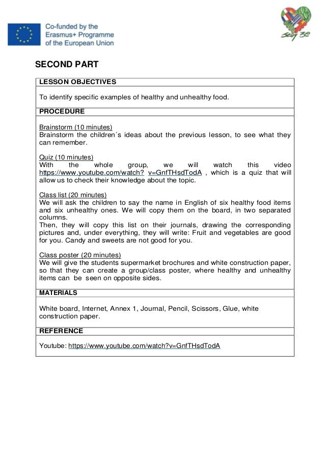 STAY 3E Balanced nutrition lesson plans' book