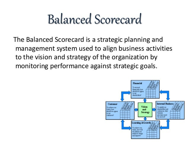 using the balanced scorecard at the The balanced scorecard (bsc) can be an effective way to organize and manage an organization's business activities, by ensuring balance across major areas of focus.