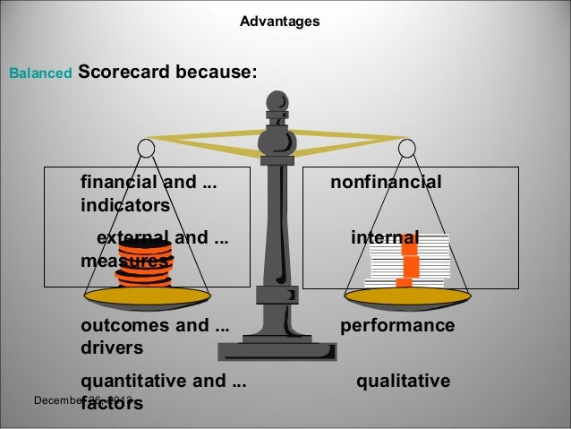 the balanced scorecard as a tool With the balanced scorecard approach, an array of performance measurements is developed each indicator should be congruent with the overall entity objectives.