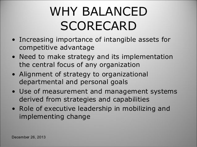 importance of the balanced scorecard This report focuses on one such framework: the balanced scorecard of the tools designed to improve corporate performance, the balanced scorecard has probably been.