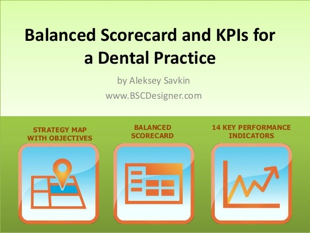 Balanced Scorecard and KPIs for a Dental Practice by Aleksey Savkin www.BSCDesigner.com STRATEGY MAP WITH OBJECTIVES  BALA...