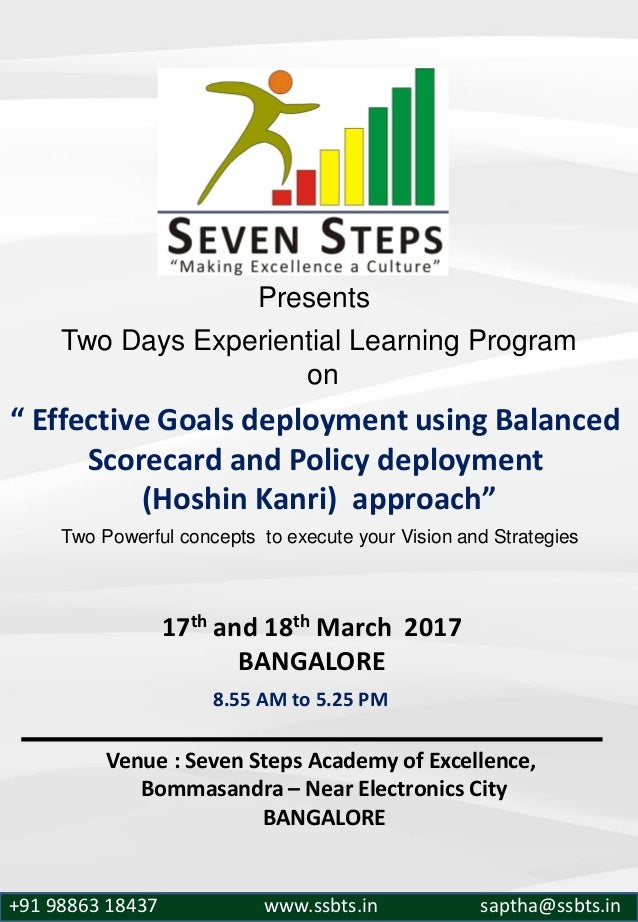 """Two Days Experiential Learning Program on """" Effective Goals deployment using Balanced Scorecard and Policy deployment (Hos..."""