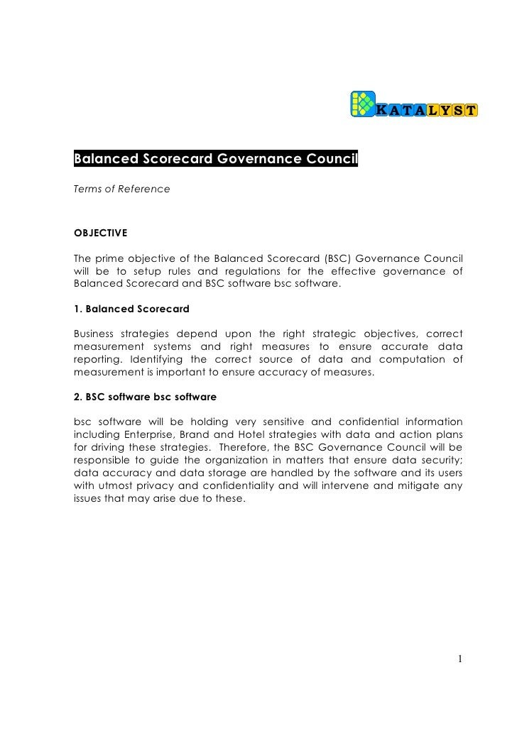 KATALYST   Balanced Scorecard Governance Council  Terms of Reference    OBJECTIVE  The prime objective of the Balanced Sco...