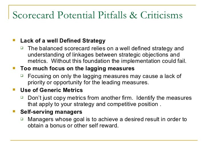 balanced scorecard presentation scorecard potential