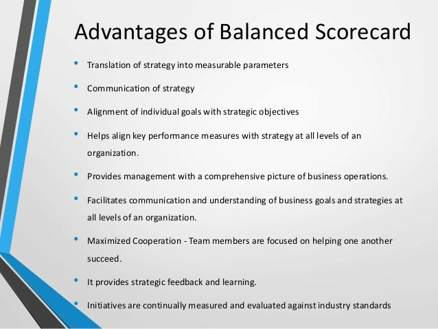 describing the balance scorecard approach
