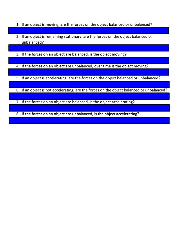 Balanced vs. unbalanced forces comprehension check answers on smart board 2012 2013