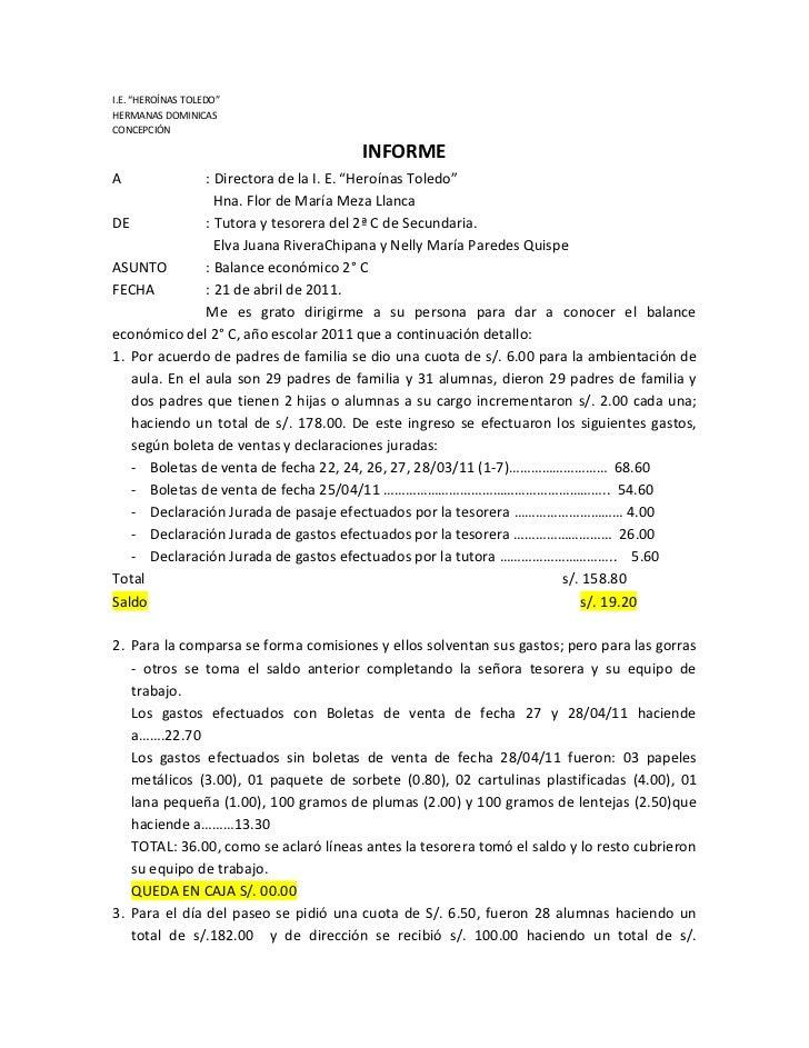 """I.E. """"HEROÍNAS TOLEDO""""HERMANAS DOMINICASCONCEPCIÓN                                      INFORMEA              : Directora ..."""