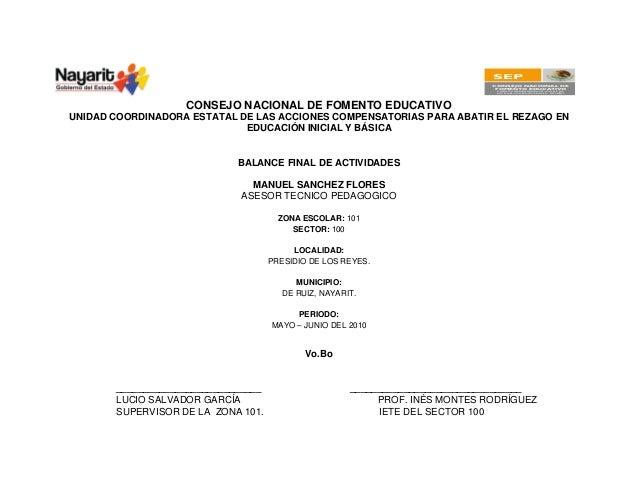 SEP CONSEJO NACIONAL DE FOMENTO EDUCATIVO UNIDAD COORDINADORA ESTATAL DE LAS ACCIONES COMPENSATORIAS EN NAYARIT CONSEJO NA...