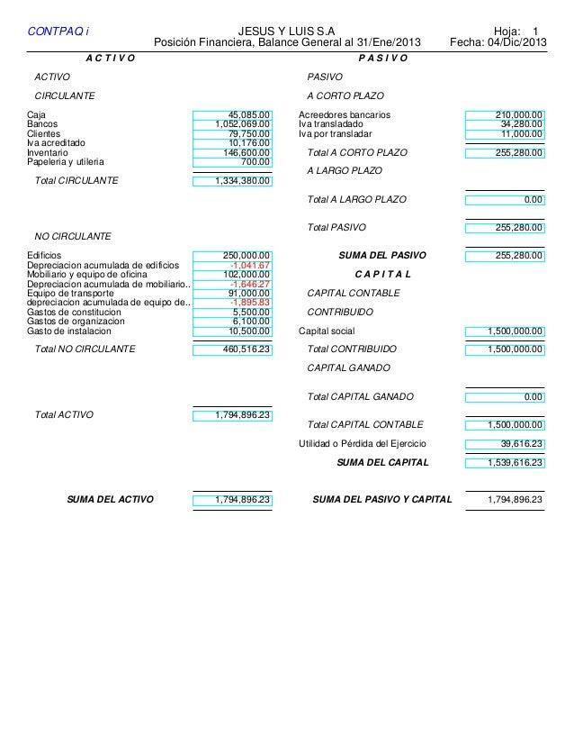 balance general del mes de enero 2013