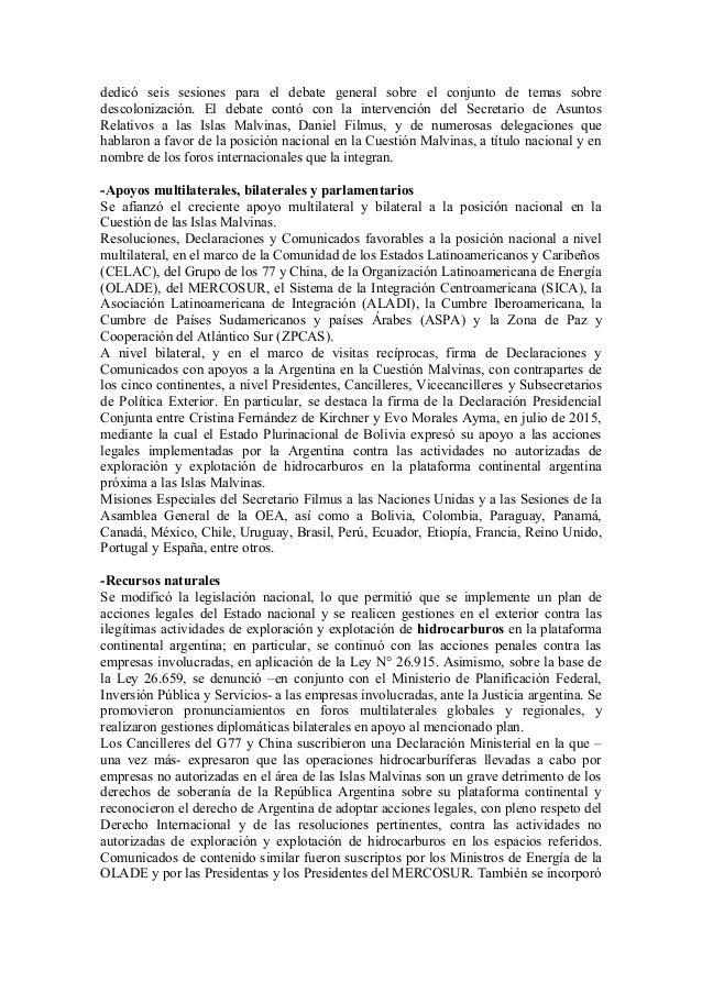 Balance de gestion Secretaría de Asuntos Relativos a las Islas Malvinas Slide 2