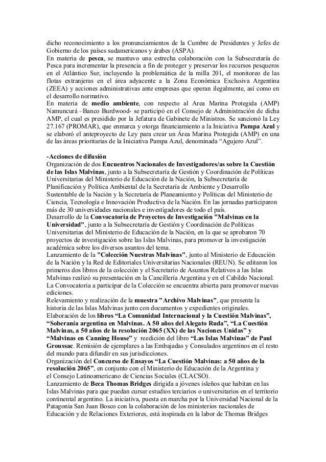 Balance de gestion Secretaría de Asuntos Relativos a las Islas Malvinas Slide 3