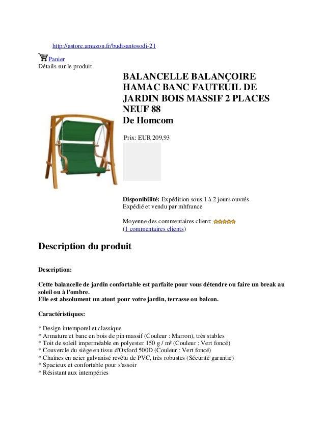 Balancelle Balançoire Hamac Banc Fauteuil De Jardin Bois Massif 2 Pla