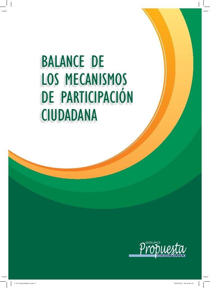 BALANCE DELOS MECANISMOSDE PARTICIPACIÓNCIUDADANA