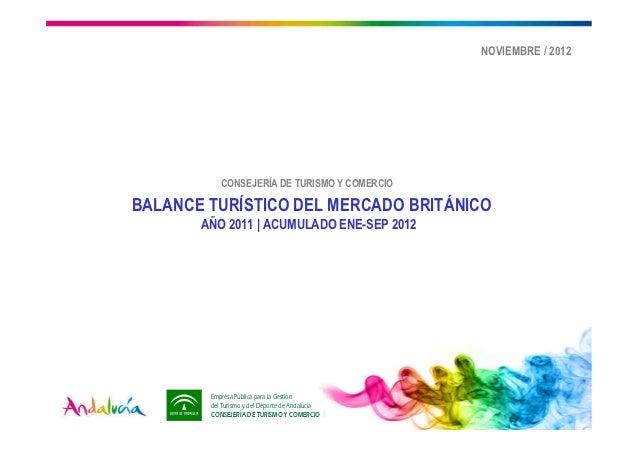 NOVIEMBRE / 2012           CONSEJERÍA DE TURISMO Y COMERCIOBALANCE TURÍSTICO DEL MERCADO BRITÁNICO       AÑO 2011   ACUMUL...