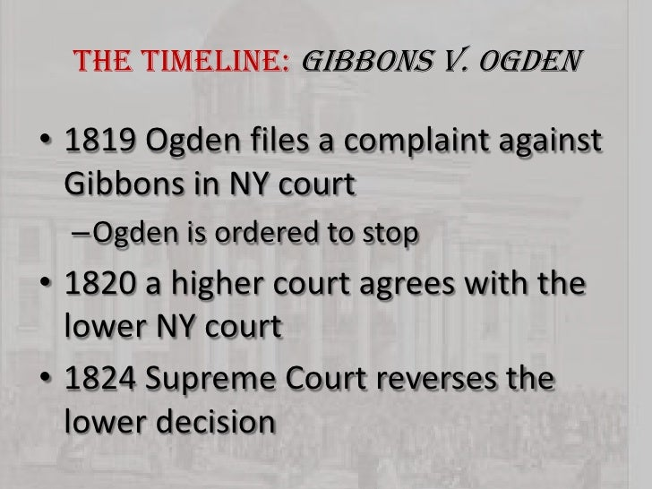 the influence of the supreme court case gibbons vs ogden in the us In the supreme court of the united states gibbons, appellant, v  no one can inquire into the motives which influence sovereign authority  gibbons v ogden.