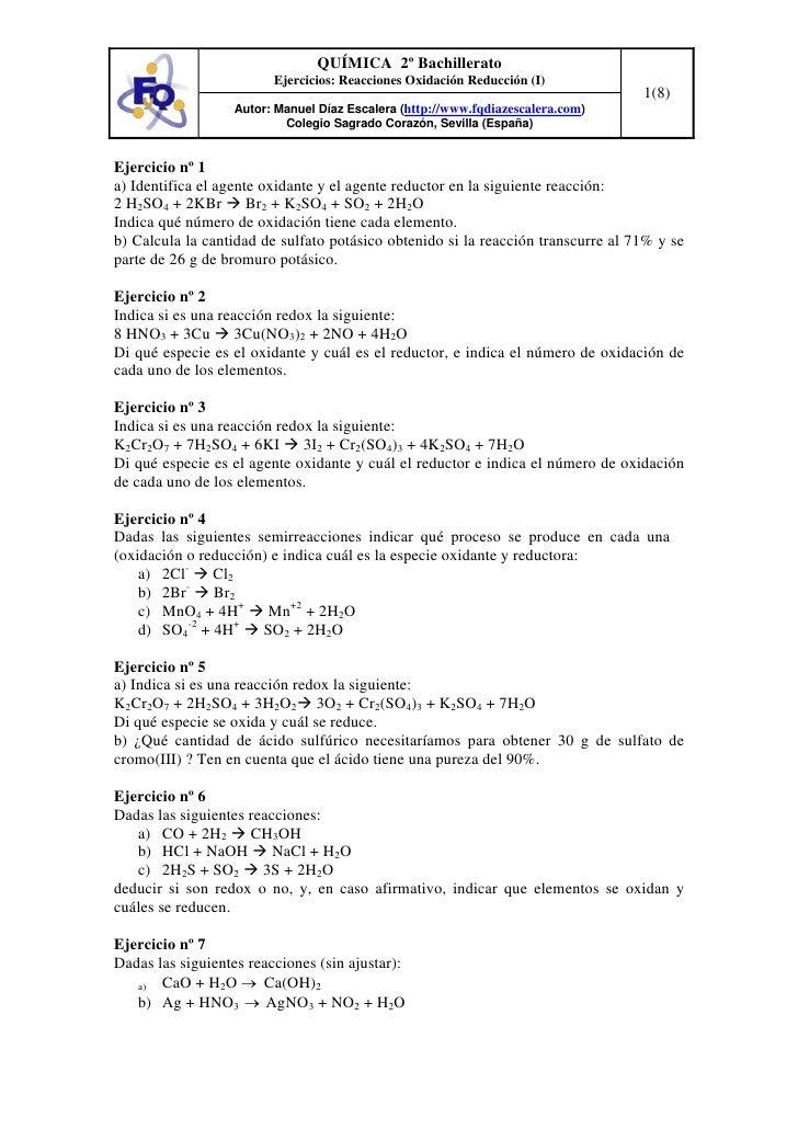 QUÍMICA 2º Bachillerato                         Ejercicios: Reacciones Oxidación Reducción (I)                            ...
