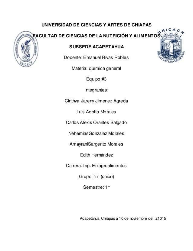 UNIVERSIDAD DE CIENCIAS Y ARTES DE CHIAPAS FACULTAD DE CIENCIAS DE LA NUTRICIÓN Y ALIMENTOS SUBSEDE ACAPETAHUA Docente: Em...