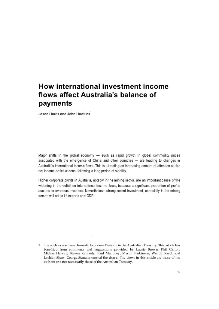 How international investment incomeflows affect Australia's balance ofpaymentsJason Harris and John Hawkins1Major shifts i...