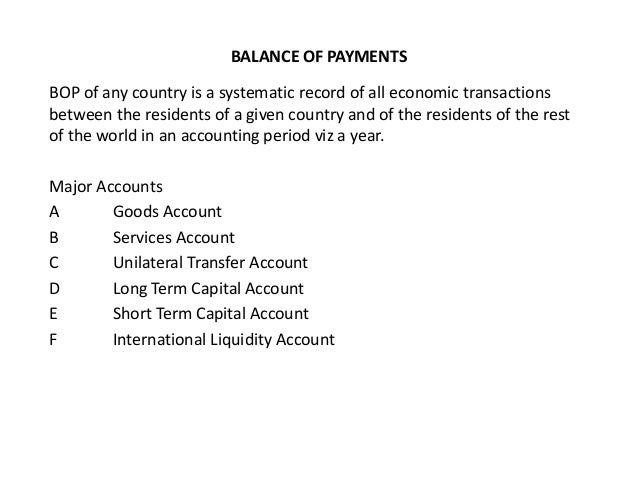 BALANCE OF PAYMENTS BOP of any country is a systematic record of all economic transactions between the residents of a give...
