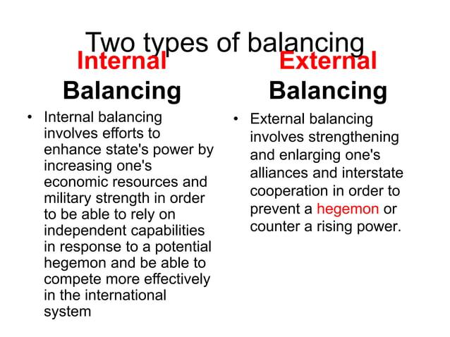 Two types of balancing Internal Balancing • Internal balancing involves efforts to enhance state's power by increasing one...