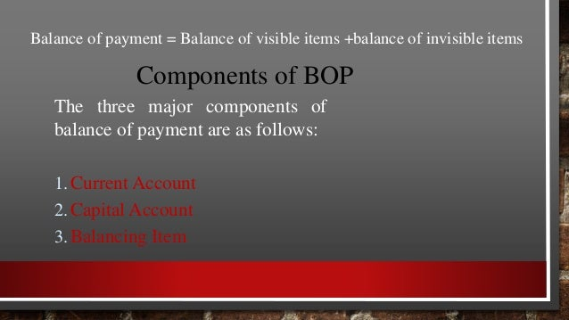 Components of BOP 2. Capital Account  It records all those transactions, between the residents of a country and the rest ...