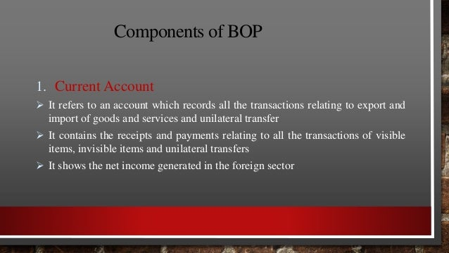 Components of BOP Components of Capital Account:  Borrowings and landings to and from abroad  Investments to and from ab...