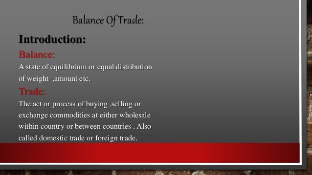 balance of trade and payment
