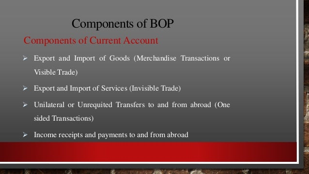 Components of BOP 3. Balancing Item  It is simply an amount that accounts for any statistical errors and assures that the...