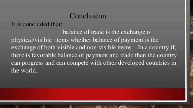 Balance of trade & balance of payment
