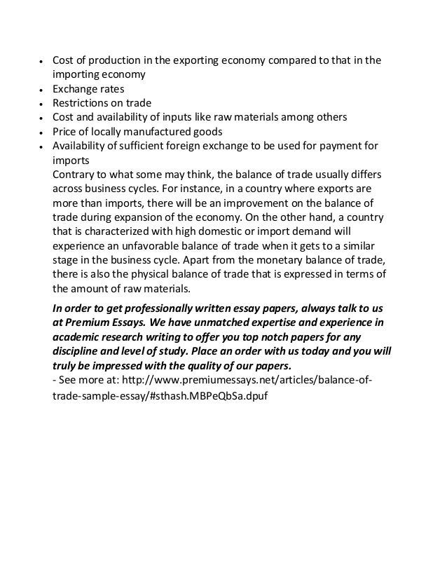 Balance Of Trade Sample Essay These Factors Include