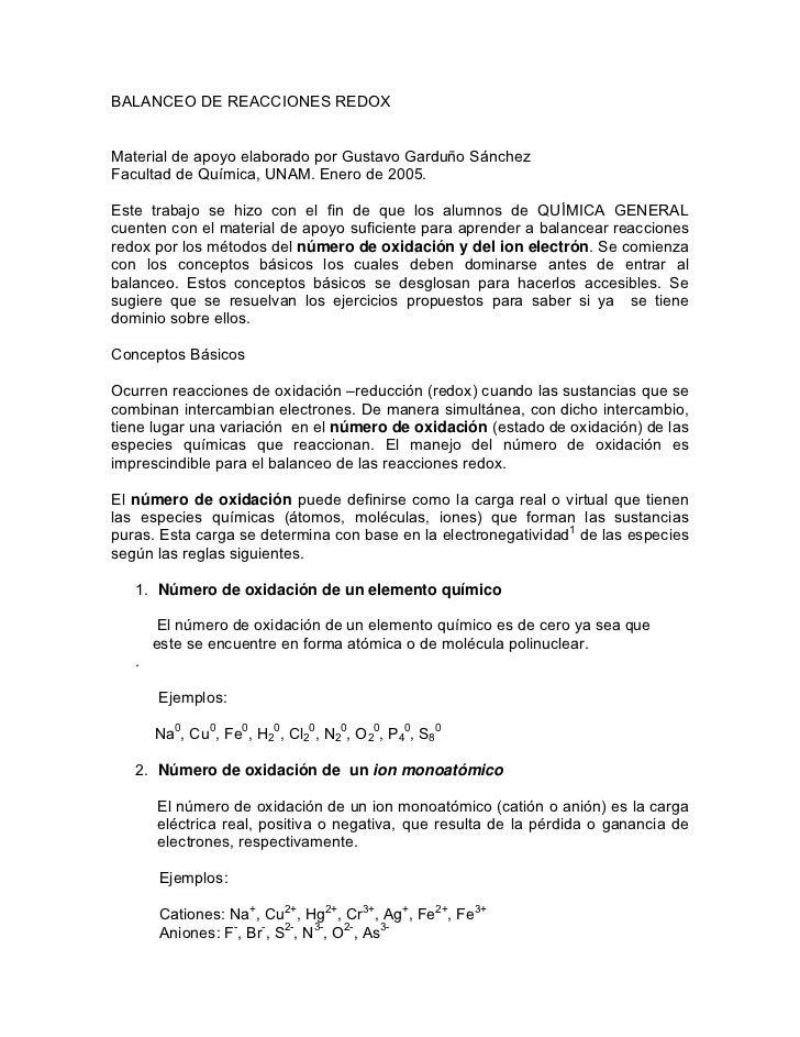 BALANCEO DE REACCIONES REDOXMaterial de apoyo elaborado por Gustavo Garduño SánchezFacultad de Química, UNAM. Enero de 200...