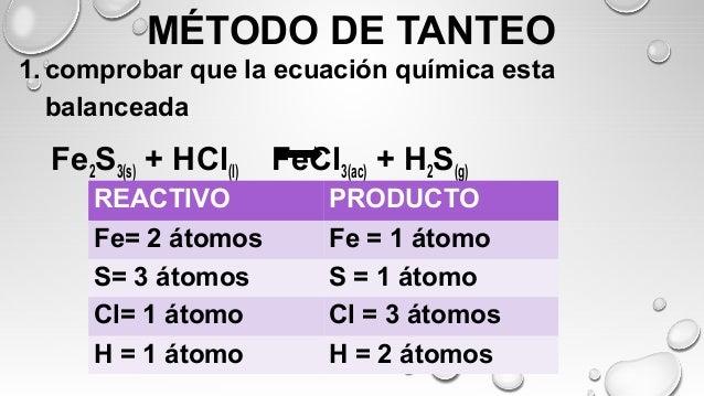 BALANCEO DE ECUACIONES QUÍMICAS POR MÉTODO DE TANTEO ...