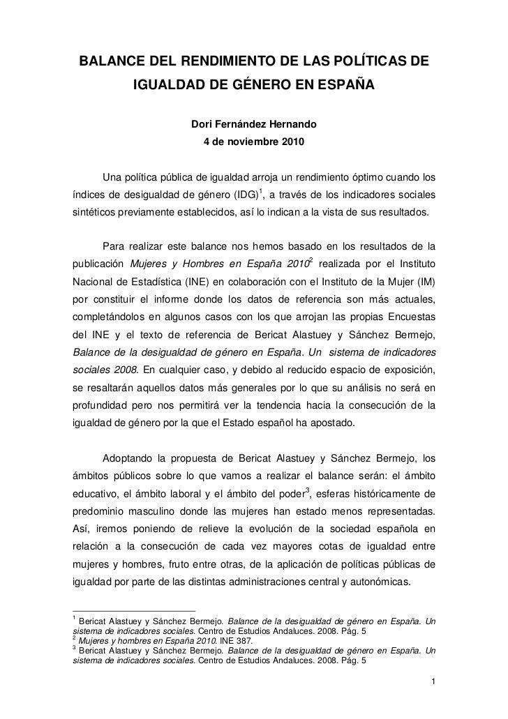 BALANCE DEL RENDIMIENTO DE LAS POLÍTICAS DE              IGUALDAD DE GÉNERO EN ESPAÑA                            Dori Fern...