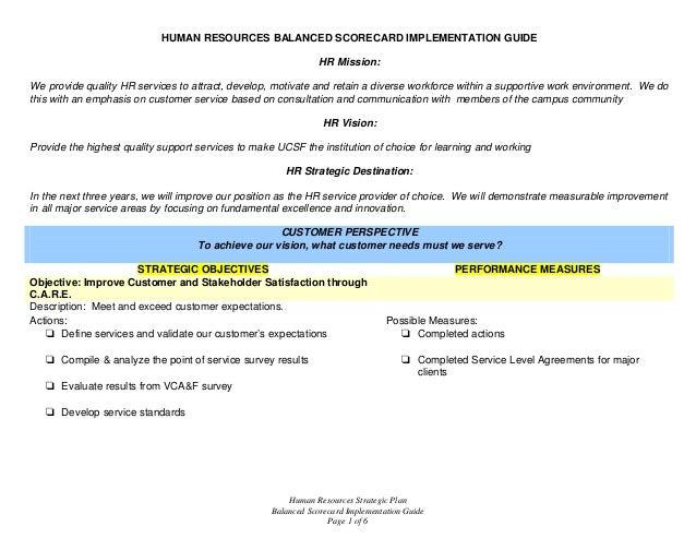 Human Resources Strategic Plan Balanced Scorecard Implementation Guide Page 1 of 6 HUMAN RESOURCES BALANCED SCORECARD IMPL...