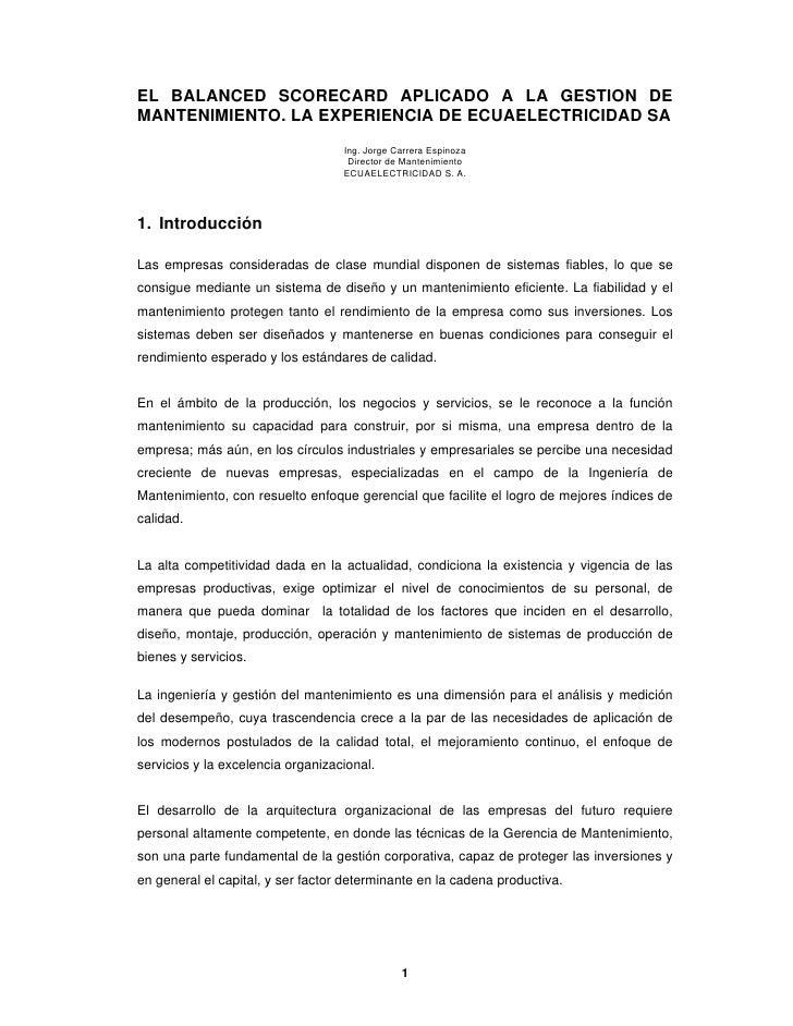 EL BALANCED SCORECARD APLICADO A LA GESTION DEMANTENIMIENTO. LA EXPERIENCIA DE ECUAELECTRICIDAD SA                        ...