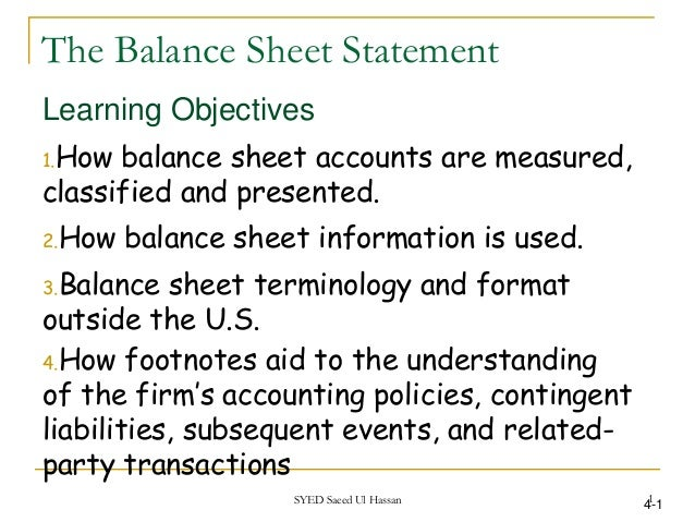 The Balance Sheet Statement Learning Objectives 1.How Balance Sheet  Accounts Are Measured, Classified ...  Balance Sheet Classified Format