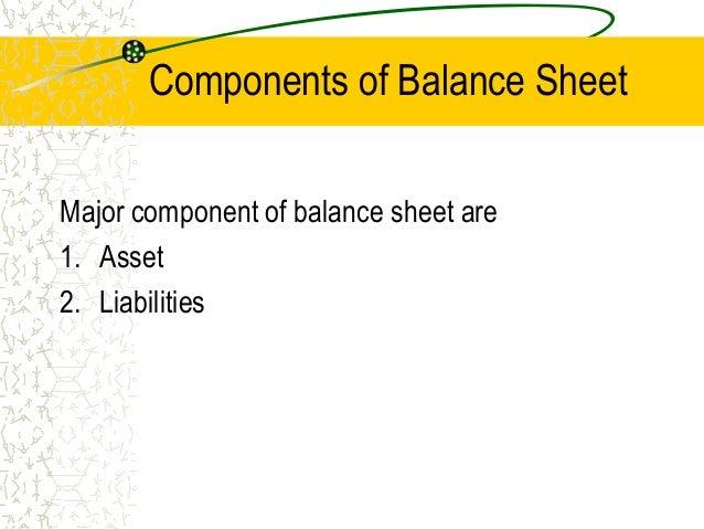 Balance sheet – Components of Balance Sheet