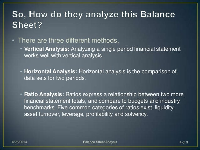 • There are three different methods, • Vertical Analysis: Analyzing a single period financial statement works well with ve...