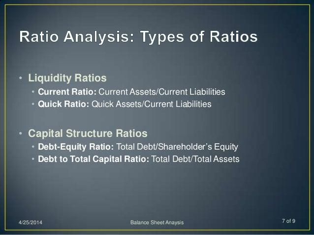 • Liquidity Ratios • Current Ratio: Current Assets/Current Liabilities • Quick Ratio: Quick Assets/Current Liabilities • C...