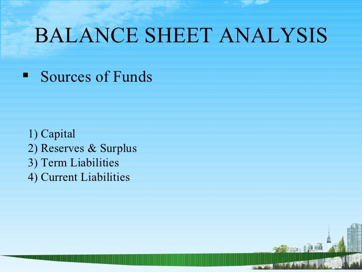 BALANCE SHEET ANALYSIS Sources of Funds1) Capital2) Reserves & Surplus3) Term Liabilities4) Current Liabilities